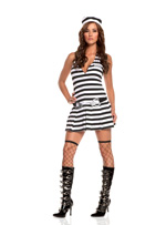 Jailbird Cutie Girls 3 Pc Striped Mini Dress Halloween Costume - S,M,L