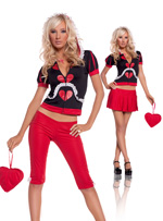 Queen Of Hearts Themed 5 Pc Halloween Costume - S,M,L