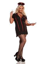Gothic Naughty Nurse 4 piece Halloween Costume - Plus Diva Size