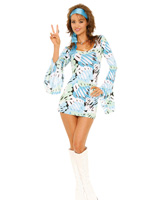 Groovy Go-Go Girl 2 Pc Blue Psychedelic Print Costume