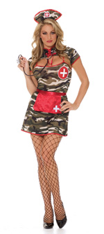 Fiesty Field Army Nurse 5 Pc Camouflage Halloween Costume - S,M,L,XL