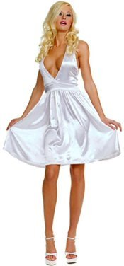 Marilyn Munroe Low V-Front White Halter Dress Costume - One Size