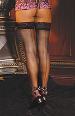 Back Seam Sheer Thigh Hi Stockings with Pearl and Satin Bow Decoration