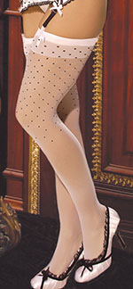 Adorable Pink Polka Dot Thigh Hi Stockings, Pink/Black