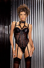 Black Leather & Fishnet Strappy Underwire Teddy - S,M,L,1X,2X,3X