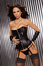 Black Leather Sexy Zip Front Boned Corset Bustier & Thong Panty Set ~ 32 - 44