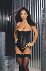 Black Leather Strapless Corset Bustier w/ Decorative Hook & Eye Front & Thong Set ~ 32-44