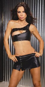 Black Leather Low Rise Mini Skirt w/ Decorative Front Snaps - S,M,L